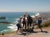 Warwick, Łukasz i dwójka Hiszpanów z couchsurfing - na szczycie Mt. Maunganui; Nowa Zelandia