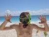 Gotowy do snorkelingu, nad Morzem Karaibskim w Tulum; Meksyk