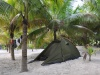Obozowisko pod palmami w Playa las palmas, Tulum; Meksyk