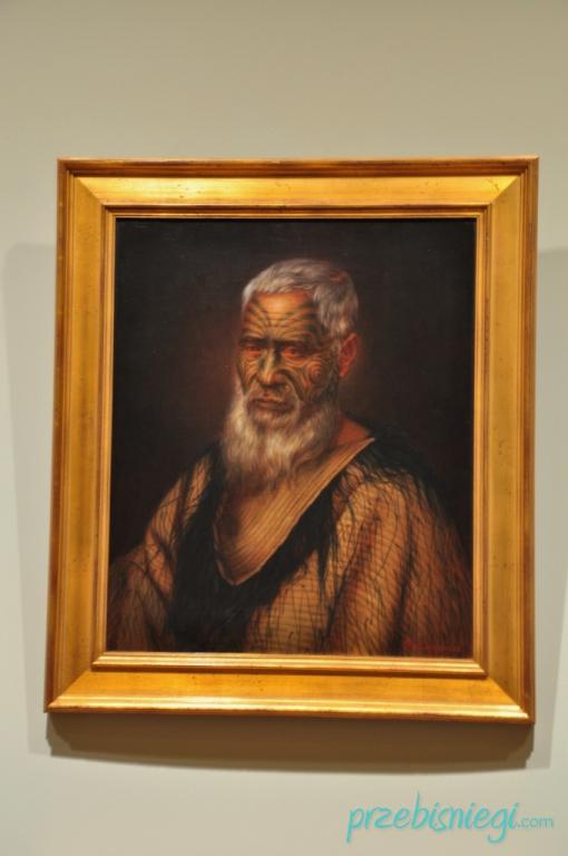 Galeria Sztuki w Auckland - portret Maorysa; Nowa Zelandia